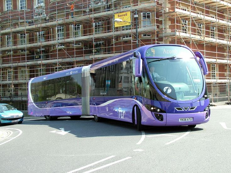 Photo of a purple Bendy Bus