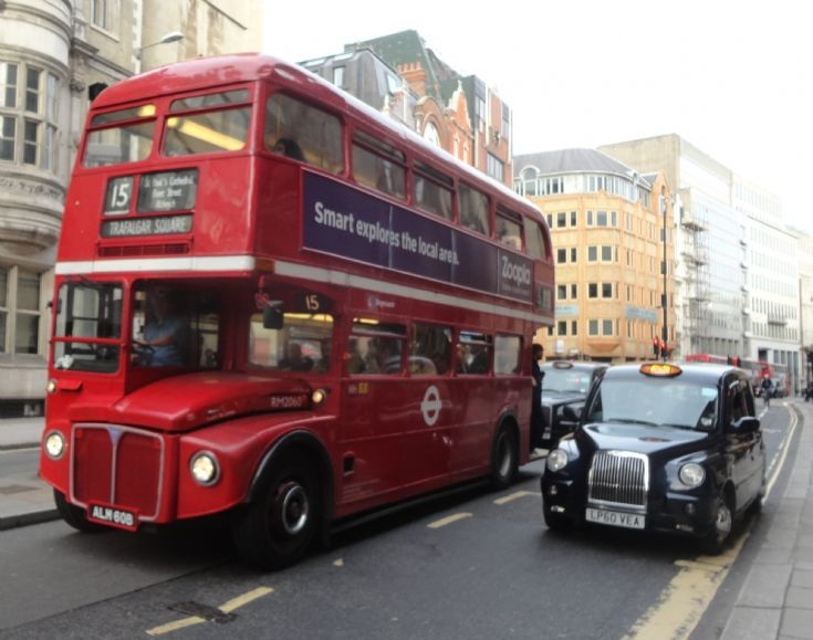 Routemaster and Black Cab on Fleet Street