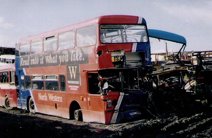 Bus at a scrapyard in England