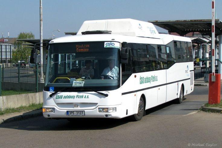 SOR Ekobus departing from Plzen bus station