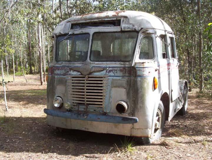 40s White semi trailer bus Brisbane Australia