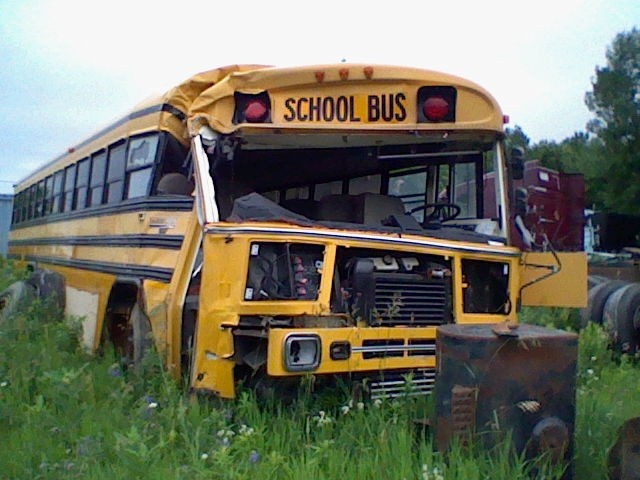 school bus wrecked