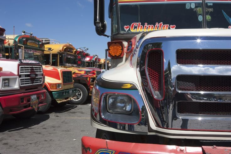 Line up of 'Chicken buses' Guatemala